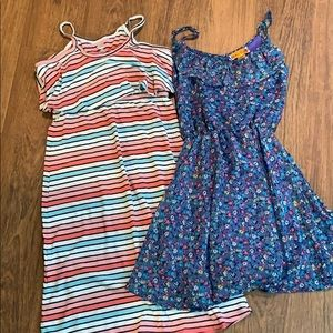 2 Sundresses. Girls 10/12. Striped and floral.